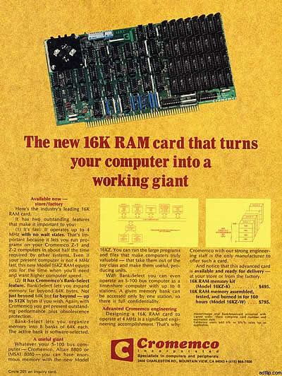 "Cromemco: ""The New 16K RAM card…"" (1977)"