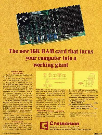 """Cromemco: """"The New 16K RAM card…"""" (1977)"""