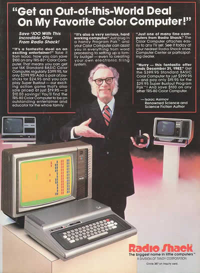 RadioShack: Issac Asimov featuring a color computer (1982)